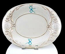 "STAFFORDSHIRE ENGLAND IRONSTONE WHEAT AND MASK RELIEF GOLD TRIM 13"" OVAL PLATTER"
