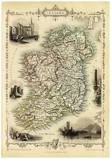 Old Vintage Ireland decorative map Tallis ca. 1851