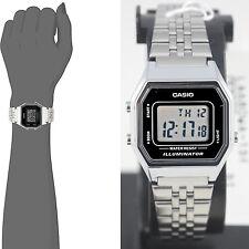 Casio LA-680WA-1D Ladies Black Digitral Watch Silver Steel Band Retro Vintage