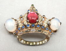 Vintage CORO Craft STERLING Silver CROWN Pin Brooch Glass Moonstone Jewels 14.4g