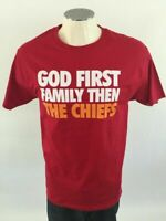 Kansas City Chiefs T Shirt M Red God First Family NFL Football Mens 3680