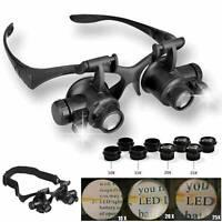 Magnifier Eye Glass Loupe Jeweler Watch Repair Kit w LED Light 10X 15X 20X 25X
