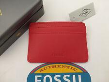 Fossil tarjeta titular Booker Cuero Funda de tarjeta de crédito Rojo Fina Billetera Nuevo Y En Caja