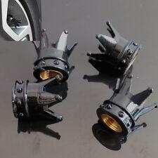 4 Pcs Car Black Imperial Crown Tyre Tire Wheel Valve Stems Air Dust Cover Cap
