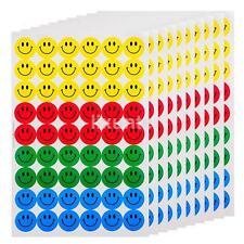 10 Sheets Colourful Happy Round Smile Face Stickers School Reward Merit DIY CA