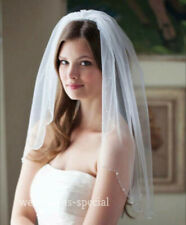 "High Quality Nude Soft Wedding Bridal Veil 1 Tier Elbow Swarovski Edge 28"" UK"