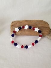 Stretch Patriotic Red White And Blue Bracelets - Sets Of Three - Your Choice
