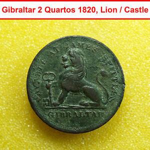 00208 Gibraltar Coin 2 Dos Quartos 1820 James Spittles KM#Tn9 Lion / Castle