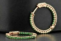 1.25Ct Round cut  Emerald 14k Rose Gold Over Women's Hoop Earrings For Gift
