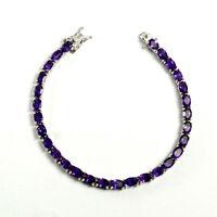 925 Sterling Silver Natural Gemstone 6x4mm Oval Purple Amethyst Tennis Bracelet
