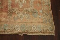 Antique Tribal Authentic Moroccan Wool Runner Rug Geometric Hand-Knotted 6'x14'