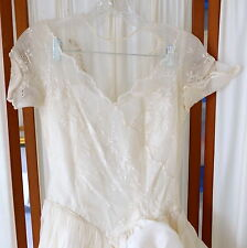 Women's VINTAGE Dress Wedding Gown 1950s Eyelet Voile Train w/ Gauntlets XS