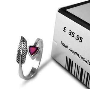 Stylish 925 Sterling Silver Red GARNET Gemstone Leaf Adjustable Ring Gift Boxed