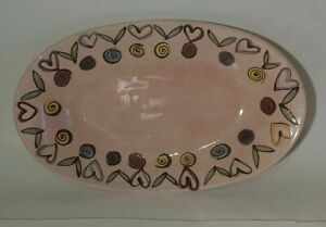 """Hand Painted Hasslock Tika Oval Serving Platter by Home ETC. 16 1/4"""" L"""