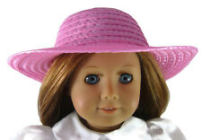 "Summer Pink Straw Sun Hat fits 18"" American Girl Doll Clothes Sew Beautiful"