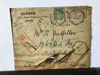 France 1921 registered to England  stamps cover Ref R28302