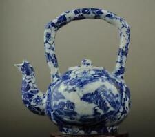 Chinese old hand-made Blue and White porcelain Hand painted landscape teapot