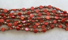 """16"""" Strand Red Sponge Coral Thick Coin & Wood Round Beads 6mm-14mm"""