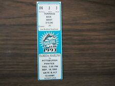 Florida Marlins Ticket Stub From Sep 16 1993 vs Pirates 9/16/93 Inaugural