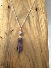 genuine gemstone crystal point with Crystal bead charm silver chain Amethyst
