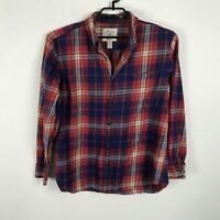 St John's Bay Flannel Shirt Plaid Mens Size L Red Multicolor Long Sleeve Cotton