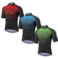 Men's Cycling Jersey Short Sleeve Road Bike Clothing Cycle Top Blue Green Red