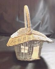 """White Woven Basket Featuring Cabin House - Plastic Liner 9 In Tall By 10"""" Long"""