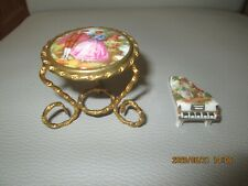 LIMOGES Miniature Gilt Wire Table and Porcelain Piano Doll's House Meissner