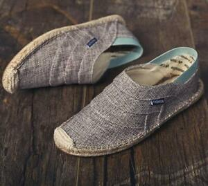 Chinese Retro Mens Linen Slip On Loafers Fisherman Pumps Comfy Flat Summer Shoes