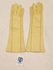 NWT PORTOLANO Long Yellow Leather Silk Lined Gloves Stitching Size 6-1/2 NEW