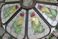 Vintage Stained Glass Lamp Shade Mother of pearl and wood