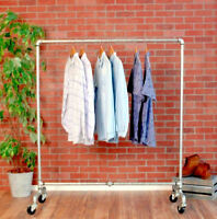 """Industrial Pipe Rolling Clothing Rack - Galvanized Silver Pipe - 60"""" Wide"""
