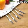 5pcs Stainless Steel Fruit Fork Tableware Snacks Dessert Salad Kitchen Gadgets