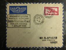 1939 Saigon Laos Hanoi Vietnam First Flight Cover via Air France FFC 200 Flown