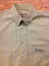men's THOMAS BURBERRY Medium Green Check Shirt. Short Sleeve. Superb Cond.