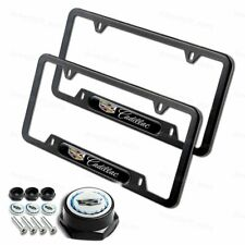 1 Pair For CADILLAC Black Stainless Steel License Plate Frame w/ Black Cap Set