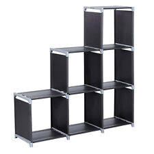 6 Cubes Grid Storage Closet Cloth Organizer Shelf Bookcase Storage Modular Black