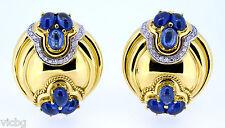 Earrings in 18K Yellow Gold Vintage Italian 6Ct. Sapphire & Diamonds