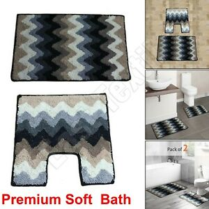 2Pcs Non-slip Soft Bath Pedestal Mat Toilet Lid Carpet Bathroom Washable Rug Set
