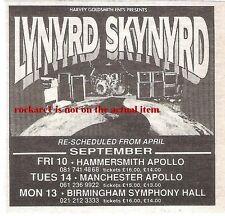 LYNYRD SKYNYRD 1993 UK Tour mini  Press ADVERT 3x3 inches