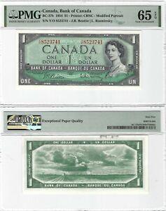CANADA 1 Dollar 1954, BC-37b Beattie Rasminsky, PMG 65 EPQ Gem UNC, Printer CBNC