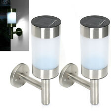 More details for 2pcs stainless steel solar led wall light garden outdoor patio light decoration