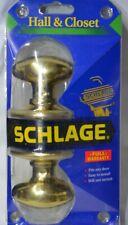 Schlage Passage Hall Closet Oval Knob Bright Brass Non-locking