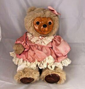 """Robert Raikes Wooden Face Teddy Bear 14"""" Pink Lace Dress"""