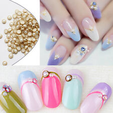 500pcs 4mm Cream Nail Art Gold Alloy Edge Pearls Studs Beads DIY Tips 3D Decora
