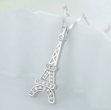 1. Ct Micro-inlay Cz Pendant Necklace Paris The Eiffel Tower 925 Sterling Silver