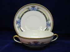 Noritake Daventry 2-Handled Cream Soup Bowl & Saucer • Pattern 69544 - Japan