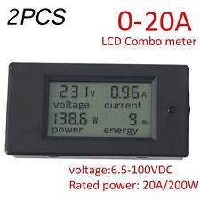 2x AC 20A Power Voltage Meter 7-100V LCD Digital Watt Current Ammeter Voltmeter