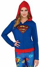 WOMEN'S DC COMICS SUPERGIRL SPARKLE ZIP UP FITTED HOODIE COMIC CON ADULT M/L NEW
