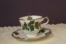 ROSINA ENGLAND CHRISTMAS HOLLY DEMITASSE CUP AND SAUCER